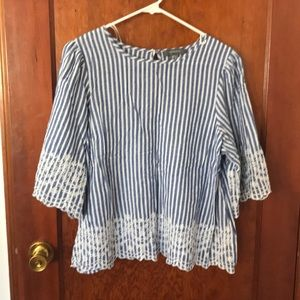 3/4 length blue and white striped blouse